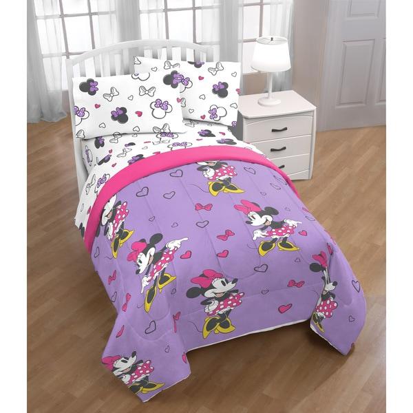 Disney Minnie Mouse Purple Love 4 Piece Twin Bed Set