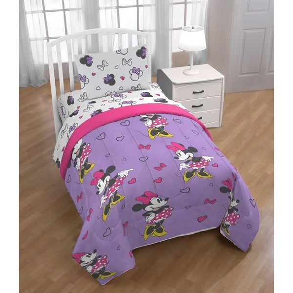 Disney Minnie Mouse Purple Love Reversible Twin Comforter
