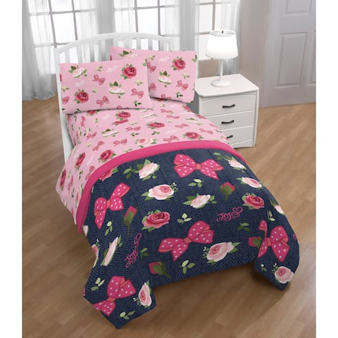 Nickelodeon Jojo Siwa Roses & Bows 4 Piece Twin Bed Set