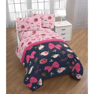 Nickelodeon Jojo Siwa Roses & Bows 4 Piece Twin Bed Set