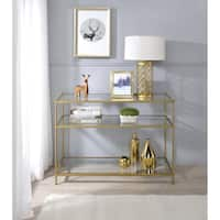 Simlicity Goldtone Metal/Glass 3-tiered Console Table