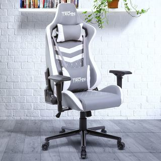 Modern Design Ergonomic High Back Racer Style Video Gaming Chair Two Tone Grey-White
