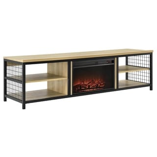 Ameriwood Home Brookspoint Golden Oak TV Stand with Fireplace for TVs up to 75 inches