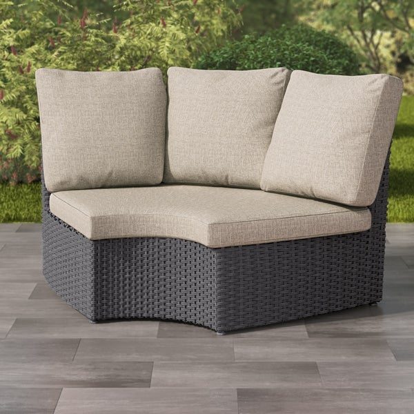 Brisbane Distressed Charcoal Grey Weather Curved Corner Patio Chair