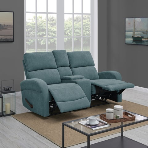 ProLounger Medium Blue Chenille 2 Seat Recliner Loveseat with Power Storage Console