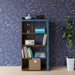 """Novogratz Xavier Walnut 5 Shelf Bookcase - 7'7"""" x 10'5"""""""