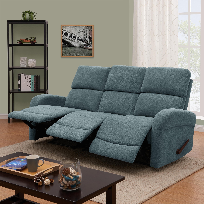 ProLounger Medium Blue Chenille 3 Seat Recliner Sofa
