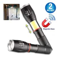 2 Tactical LED Zoomable Pro Flashlights - Retractable COB Work Light Lantern, 5 Light Modes, Magnetic Base - Combo