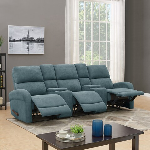 ProLounger Medium Blue Chenille 3 Seat Recliner Sofa with Power Storage Consoles
