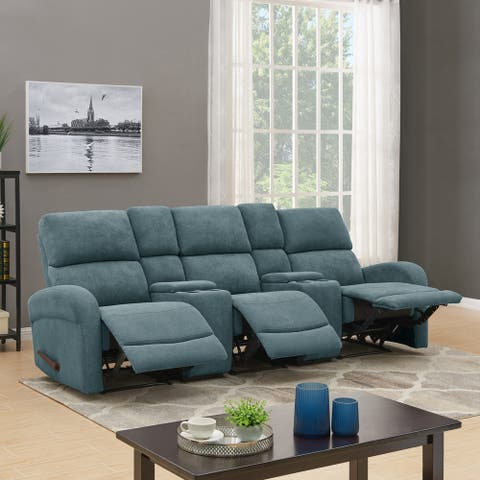 Copper Grove Herentals Medium Blue Chenille 3-seat Recliner Sofa with Power Storage Consoles