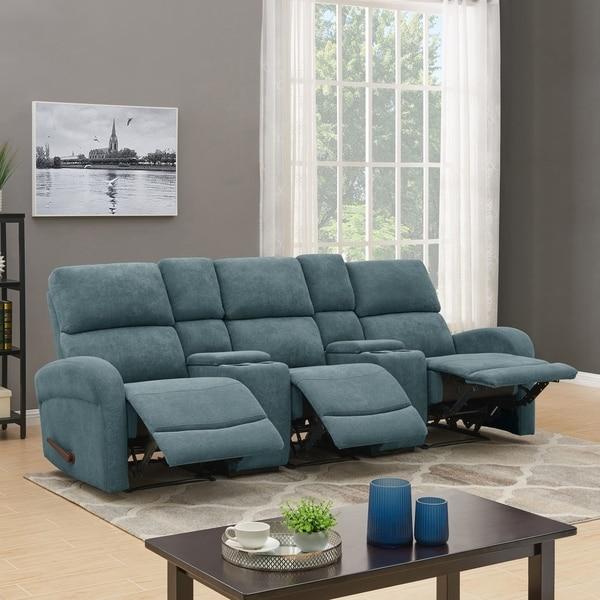 Shop Prolounger Medium Blue Chenille 3 Seat Recliner Sofa