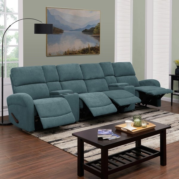 Copper Grove Heals Medium Blue Chenille 4 Seat Recliner Sofa With Storage Consoles