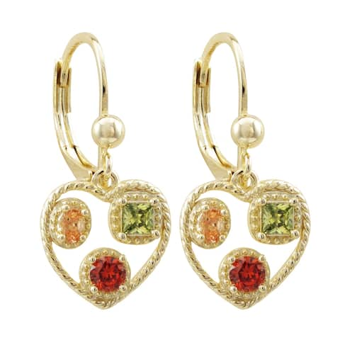 Luxiro Gold Finish Champagne Combination Cubic Zirconia Teen's Open Heart Earrings