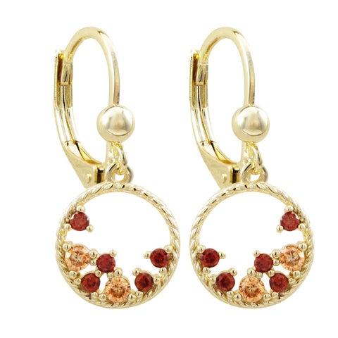 Luxiro Gold Finish Champagne Combination Cubic Zirconia Teen's Open Circle Earrings