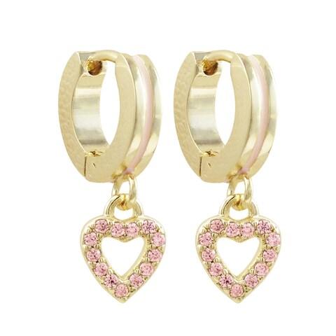 Luxiro Gold Finish Pink Cubic Zirconia Dangling Open Heart Earrings