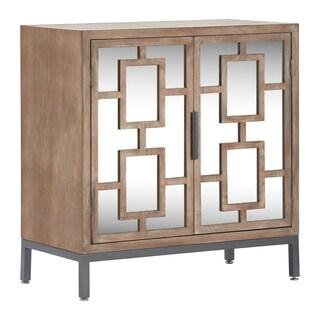 Tommy Hilfiger Hayworth Short Mirrored Ash Grey Wood Veneer/Metal Accent Cabinet