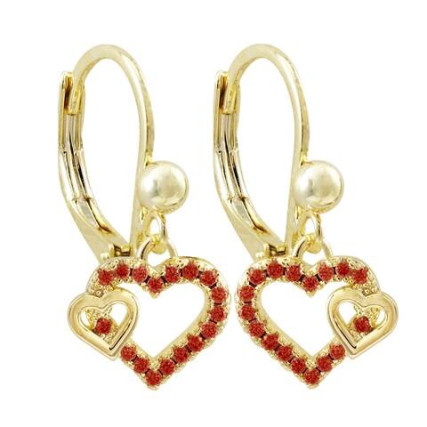 Luxiro Gold Finish Red Cubic Zirconia Double Open Heart Children's Earrings