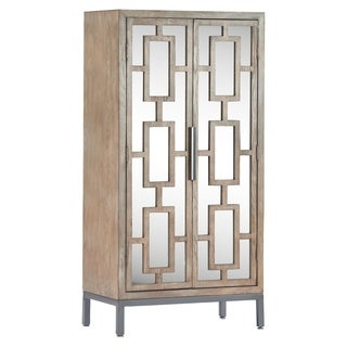 Tommy Hilfiger Hayworth Tall Mirrored Accent Cabinet, Ash Gray