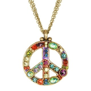 Handmade Multicolor Crystal Peace Sign Necklace (USA) by Michal Golan