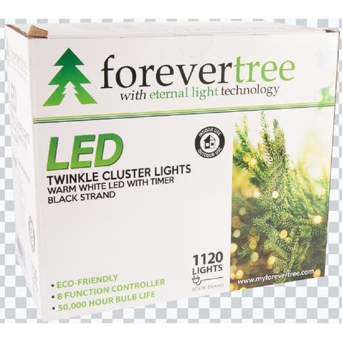 Forever Tree 1120 LED Twinkle Cluster Warm White Lights w Black Wire