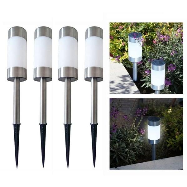 4 Solar Led Pathway Ourdoor Lights Stainless Steel Waterproof Law Patio Driveway