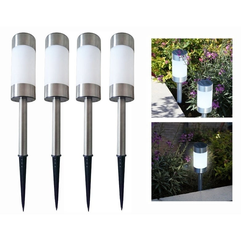 4pc Tall Stainless Steel Solar Powered LED Garden Lighting Driveway Path Lights
