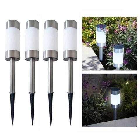 4 Solar LED Pathway Ourdoor Lights Stainless Steel & Waterproof Law Patio Driveway