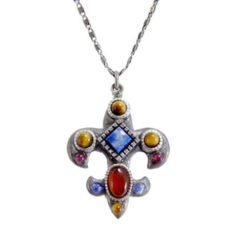 Handmade Gemstone Fleur De Lis Necklace (USA) by Michal Golan