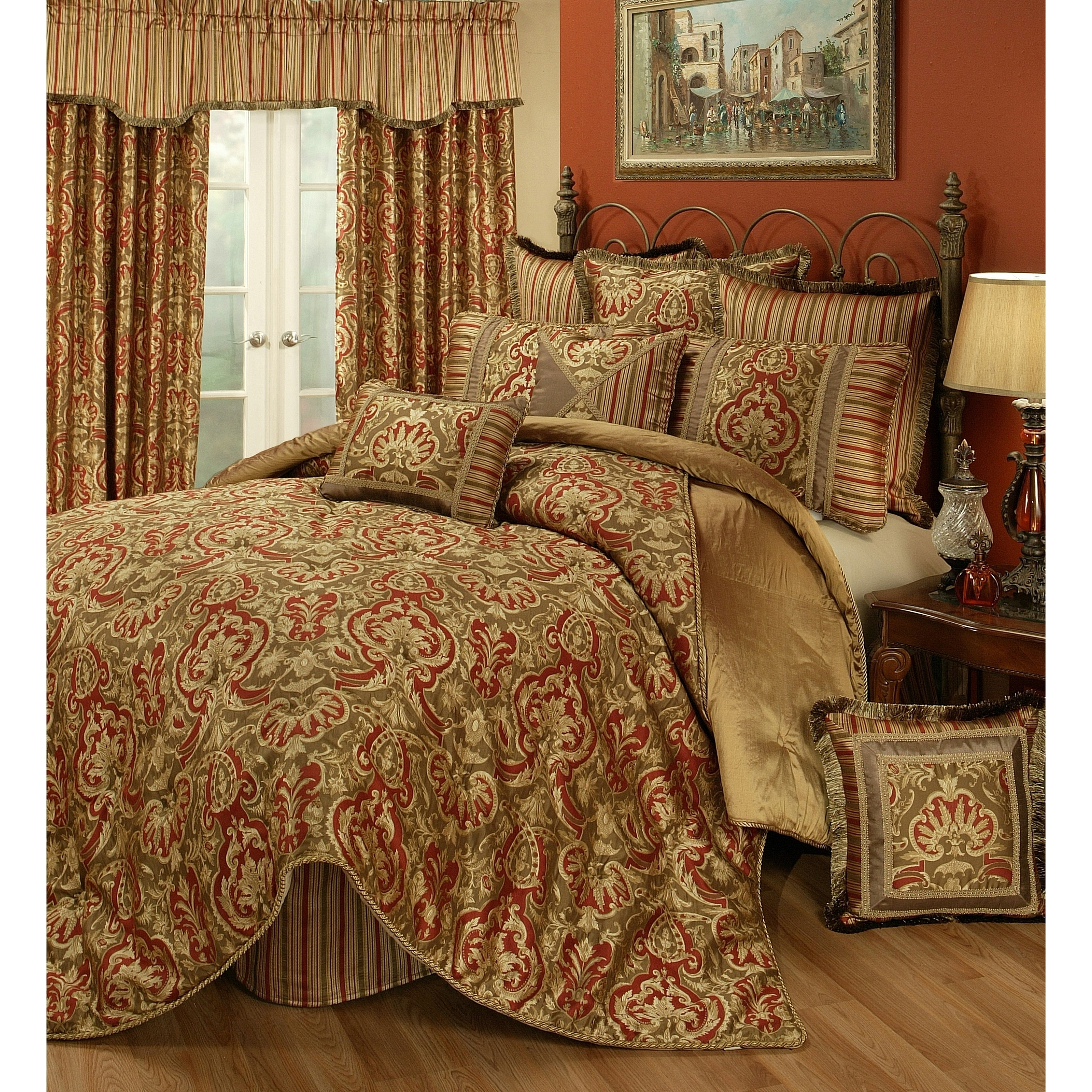 Pchf Botticelli Rust 3 Piece Luxury Duvet Set Overstock 23122517