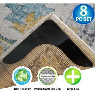 Rug Carpet Grippers Rubber Anti Curling Non Slip Skid Reusable Pads Stickers - 8pc Set