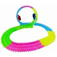 Magic Twisting Light Up Glow In The Dark Race Car Track 360 LOOP Set w/ 2 Cars