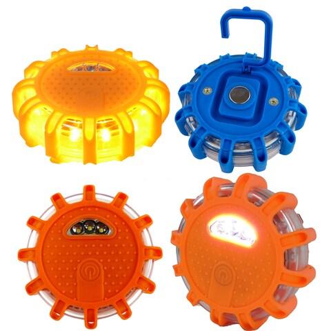LED Safety Road Side Emergency Flares Lights - Warning Disc Light Beacon - 9 Light Modes, Magnetic Base + Safety Hook - N/A