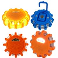 3pc LED Safety Road Side Emergency Flares Lights -  Warning Disc Light Beacon - 9 Light Modes,  Magnetic Base & Safety Hook