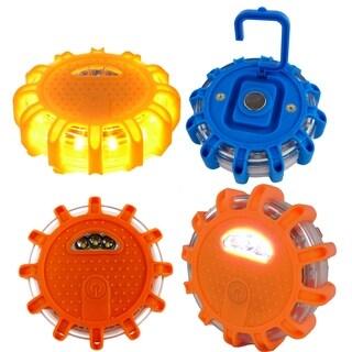 3pc LED Safety Road Side Emergency Flares Lights - Warning Disc Light Beacon - 9 Light Modes, Magnetic Base & Safety Hook