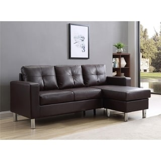Porch & Den Ropson Small Space Brown Convertible Sectional Sofa