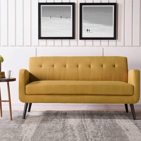Carson Carrington Tjaereborg Mid-century Modern Mustard Yellow Linen Sofa