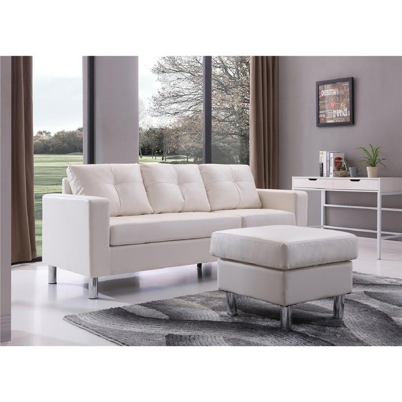 Porch & Den Ropson Small Space White Convertible Sectional Sofa