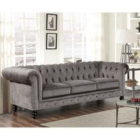 Gracewood Hollow Dib Grey Velvet Sofa