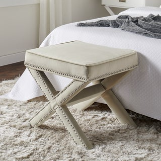 Link to Silver Orchid Fein Cream Nailhead Trim Ottoman Bench Similar Items in Living Room Furniture