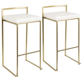 Link to Silver Orchid Forrest Goldtone Stacking Bar Stools (Set of 2) Similar Items in Dining Room & Bar Furniture
