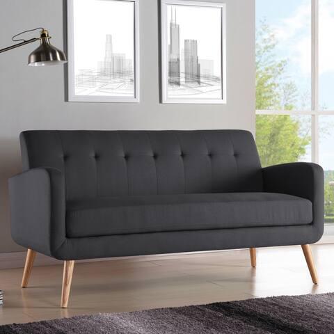 Carson Carrington Tjaereborg Mid-century Modern Charcoal Linen Armless Sofa