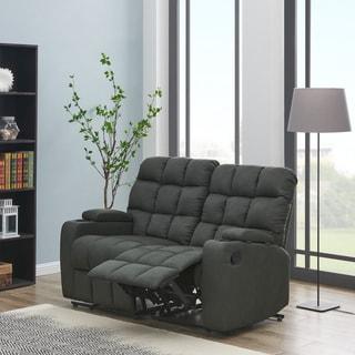 Strick & Bolton Saskia Grey Microfiber 2-seat Reclining Loveseat - 2 Seat
