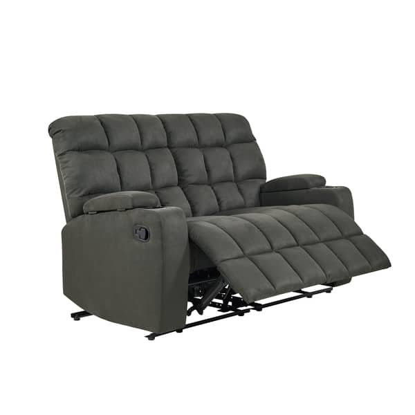 Pleasant Shop Strick Bolton Saskia Grey Microfiber 2 Seat Reclining Caraccident5 Cool Chair Designs And Ideas Caraccident5Info