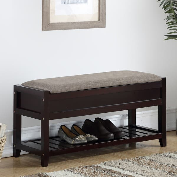 Shop Porch Den Humes Shoe Bench With Storage On Sale Overstock 23122779 Espresso