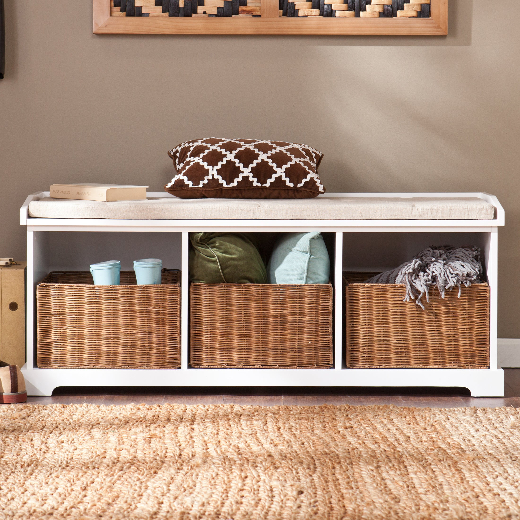 Groovy The Gray Barn Brookside White Entryway Storage Bench Beatyapartments Chair Design Images Beatyapartmentscom
