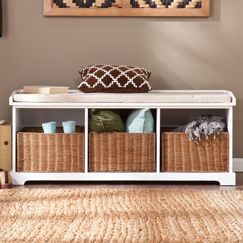 The Gray Barn Brookside White Entryway Storage Bench