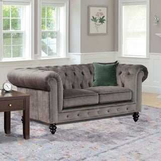 Gracewood Hollow Dib Grey Velvet Loveseat