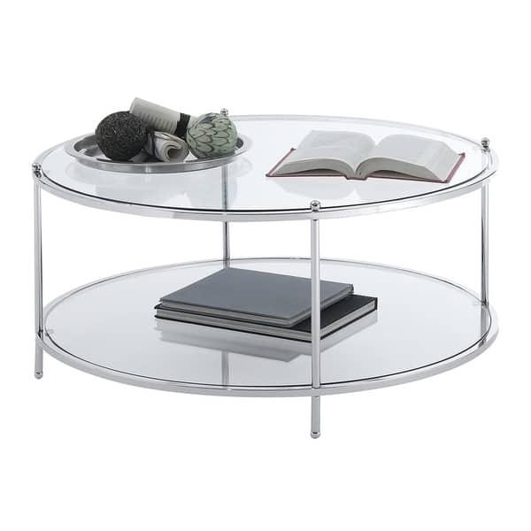 Silver Orchid Farrar Gl 2 Tier Round Coffee Table