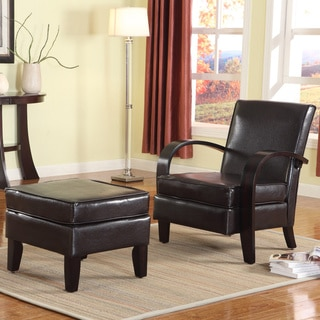 Copper Grove Michaud Brown Bonded Leather Accent Arm Chair with Ottoman