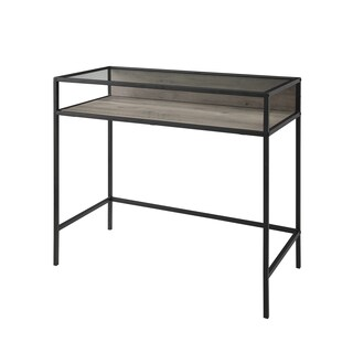 "Carbon Loft Cohn 35"" Glass Top Metal and Wood Desk"